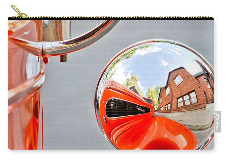 1948 Anglia Rearview Mirror Carry-all Pouch featuring the photograph 1948 Anglia Rear View Mirror -451c by Jill Reger