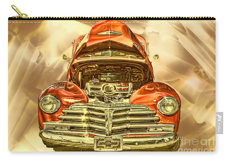 1948 Carry-all Pouch featuring the photograph 1948 Chev Red Gold Metal Art by Lesa Fine