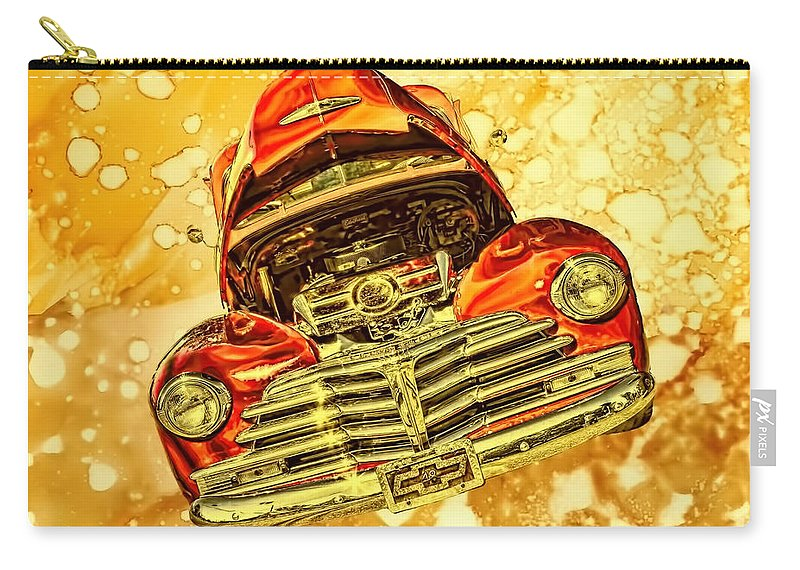 1948 Carry-all Pouch featuring the photograph 1948 Chevy Gold Acid Art by Lesa Fine