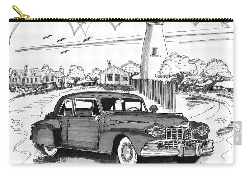 1948 Lincoln Continental Carry-all Pouch featuring the drawing 1948 Lincoln Continental by Richard Wambach