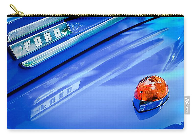 1949 Ford F-1 Pickup Truck Emblem Carry-all Pouch featuring the photograph 1949 Ford F-1 Pickup Truck Emblem -0027c by Jill Reger