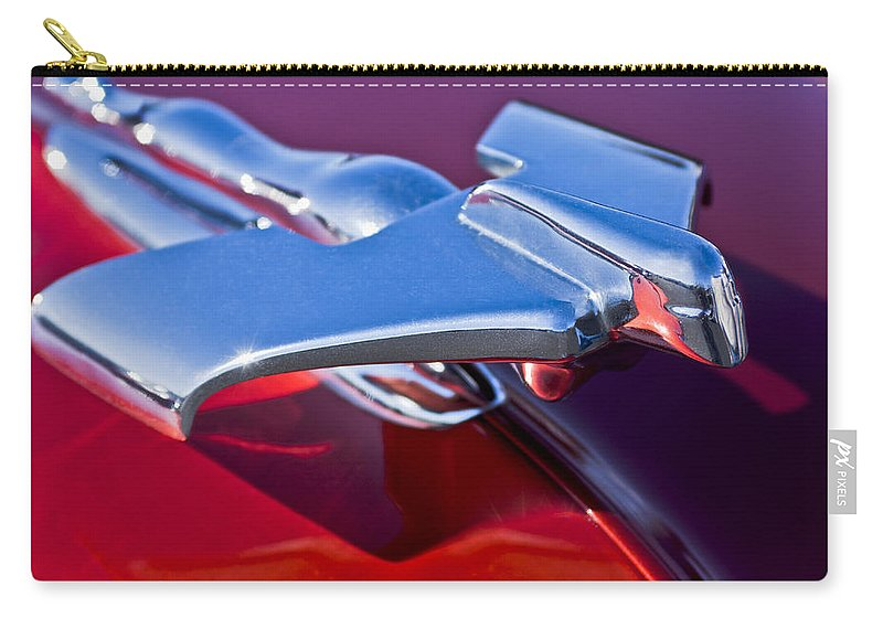 1950 Nash Carry-all Pouch featuring the photograph 1950 Nash Hood Ornament by Jill Reger