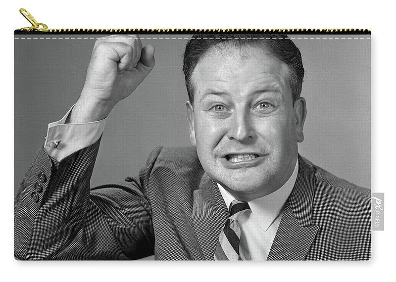 Photography Carry-all Pouch featuring the photograph 1950s 1960s Portrait Of Angry Man by Vintage Images