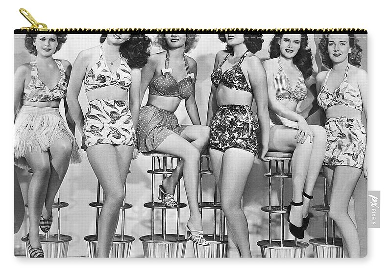 3e8ad6c0ea 1952 Carry-all Pouch featuring the photograph 1950s Bathing Suits by  Underwood Archives