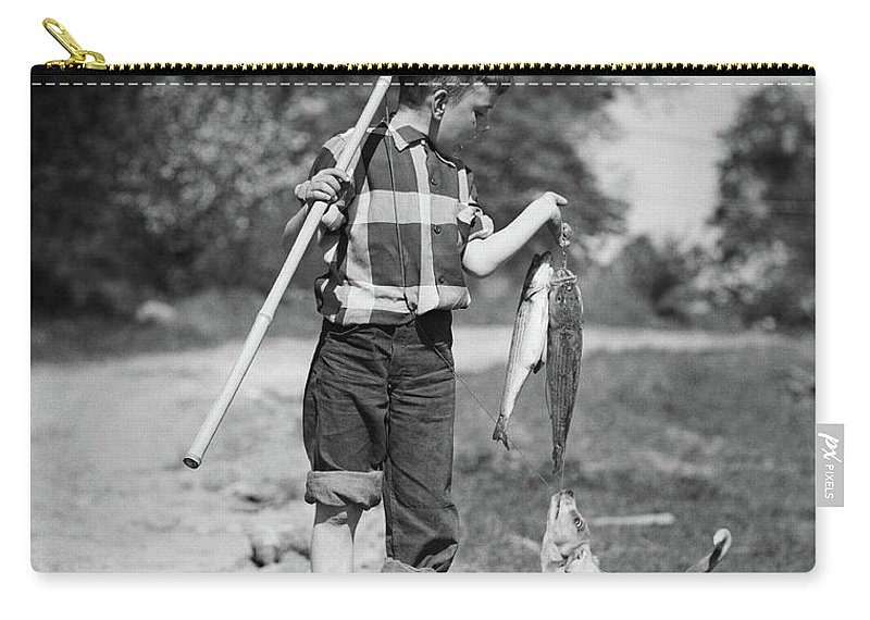 Photography Carry-all Pouch featuring the photograph 1950s Boy Plaid Shirt Sailor Hat by Vintage Images
