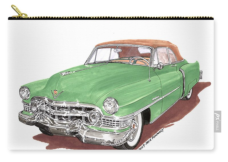 Classic Car Paintings Carry-all Pouch featuring the painting 1951 Cadillac Series 62 Convertible by Jack Pumphrey
