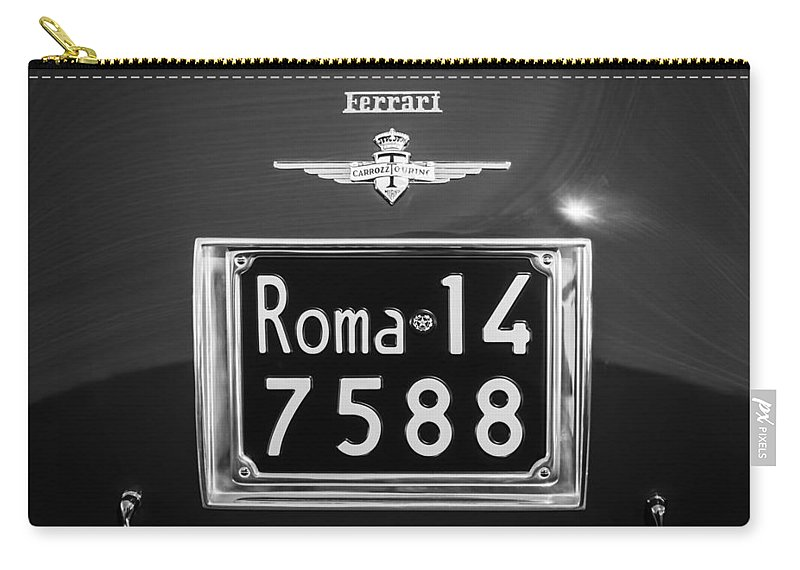 1951 Ferrari 212 Export Berlinetta Rear Emblem - License Plate Carry-all Pouch featuring the photograph 1951 Ferrari 212 Export Berlinetta Rear Emblem - License Plate -0775bw by Jill Reger