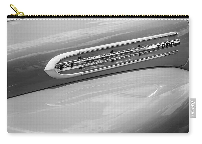 1951 Ford Carry-all Pouch featuring the photograph 1951 Ford F1 Pickup Truck Bw by Rich Franco