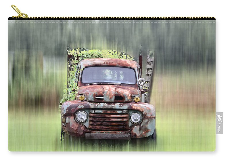 1951 Carry-all Pouch featuring the photograph 1951 Ford Truck - Found On Road Dead by Bill Cannon