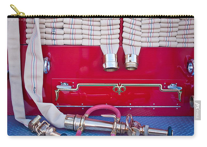 1952 L Model Mack Pumper Fire Truck Carry-all Pouch featuring the photograph 1952 L Model Mack Pumper Fire Truck Hoses by Jill Reger