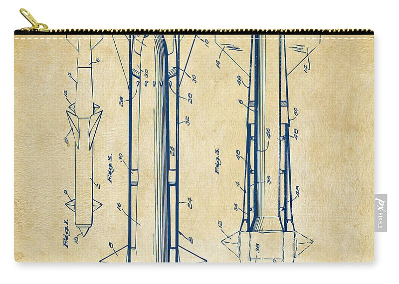 Aerial Missle Carry-all Pouch featuring the digital art 1953 Aerial Missile Patent Vintage by Nikki Marie Smith