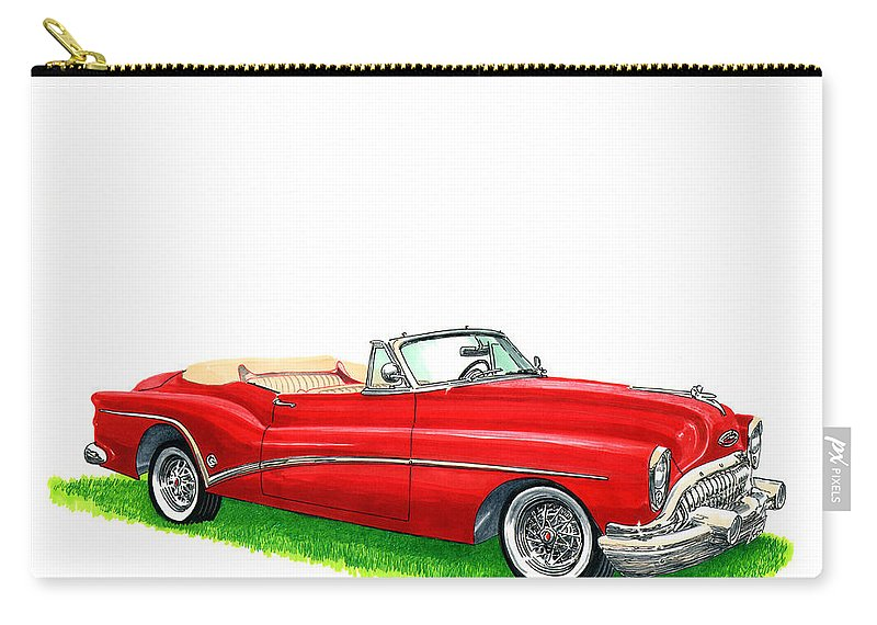 1953 Buick Skylark Convertible Carry-all Pouch featuring the painting 1953 Buick Skylark Convertible by Jack Pumphrey