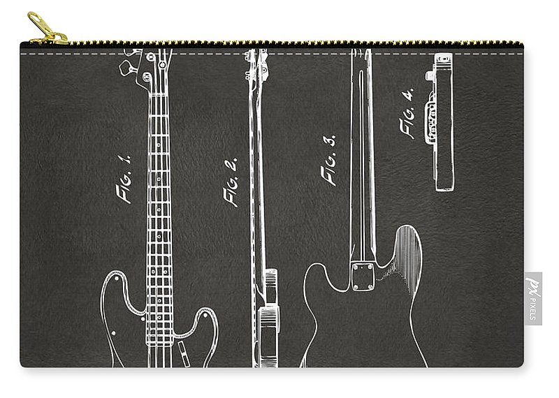 Fender Guitar Carry-all Pouch featuring the digital art 1953 Fender Bass Guitar Patent Artwork - Gray by Nikki Marie Smith