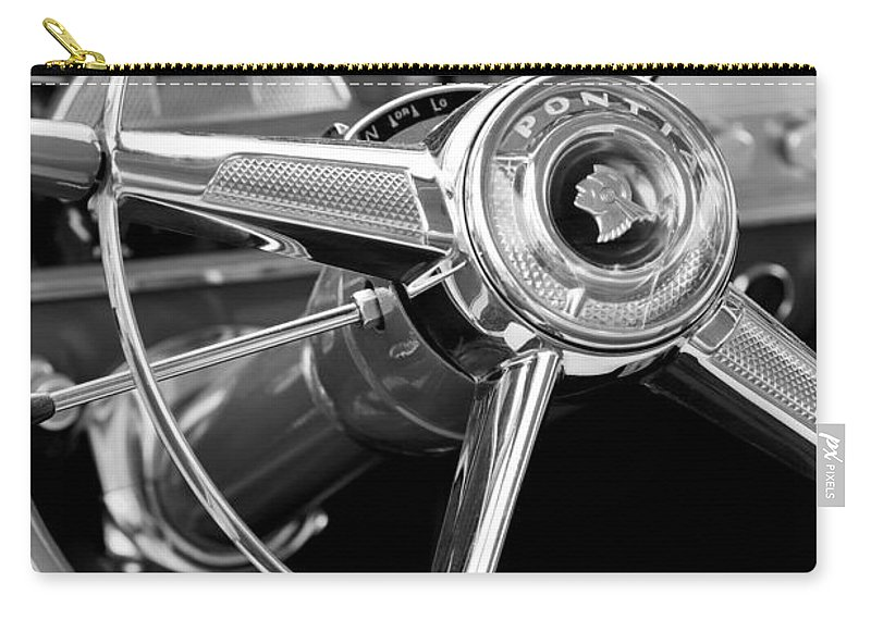 1953 Pontiac Carry-all Pouch featuring the photograph 1953 Pontiac Steering Wheel 2 by Jill Reger