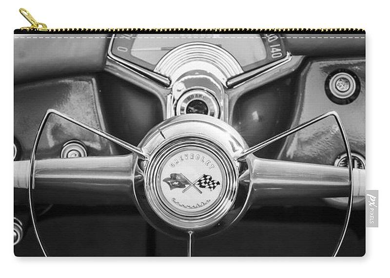 1954 Chevrolet Corvette Steering Wheel Carry-all Pouch featuring the photograph 1954 Chevrolet Corvette Steering Wheel -382bw by Jill Reger