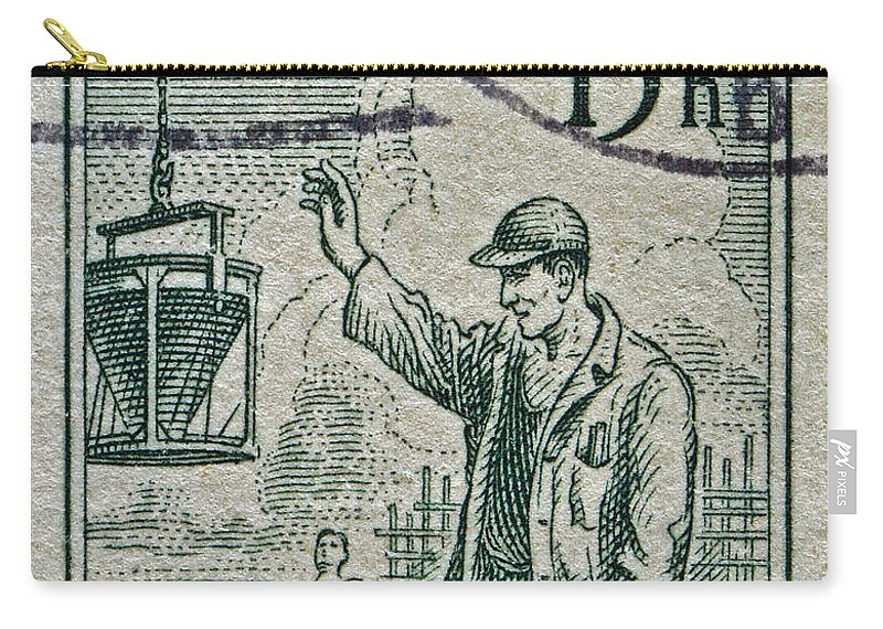 1954 Carry-all Pouch featuring the photograph 1954 Czechoslovakian Construction Worker Stamp by Bill Owen