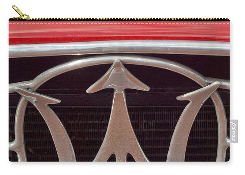 1954 Maserati A6 Gcs Carry-all Pouch featuring the photograph 1954 Maserati A6 Gcs Emblem by Jill Reger