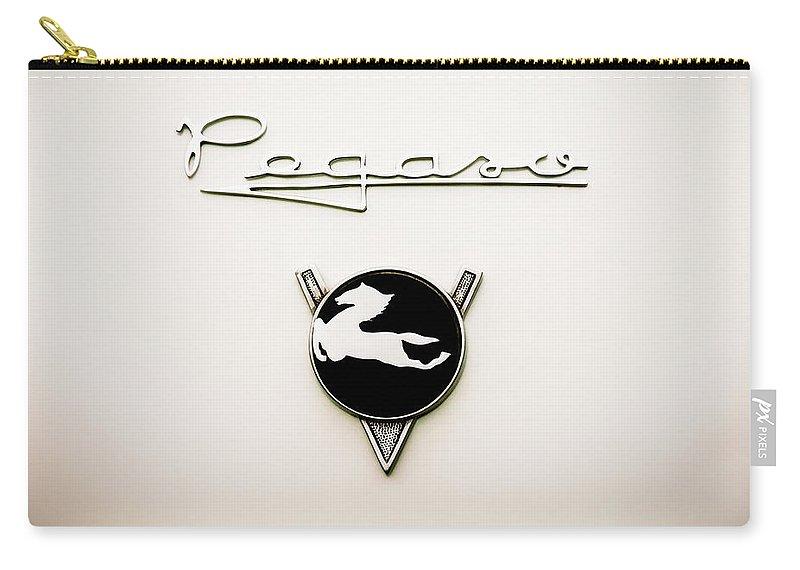 1954 Pegaso Z-102 Saoutchik Coue Emblem Carry-all Pouch featuring the photograph 1954 Pegaso Z-102 Saoutchik Coue Emblem -2218c by Jill Reger