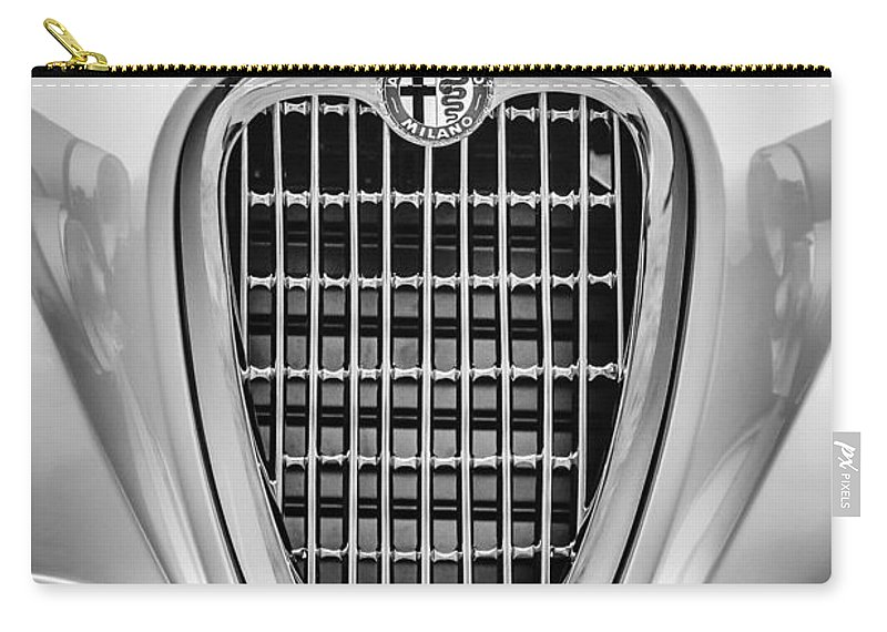 1955 Alfa Romeo 1900 Css Ghia Aigle Cabriolet Grille Emblem Carry-all Pouch featuring the photograph 1955 Alfa Romeo 1900 Css Ghia Aigle Cabriolet Grille Emblem -0564bw by Jill Reger