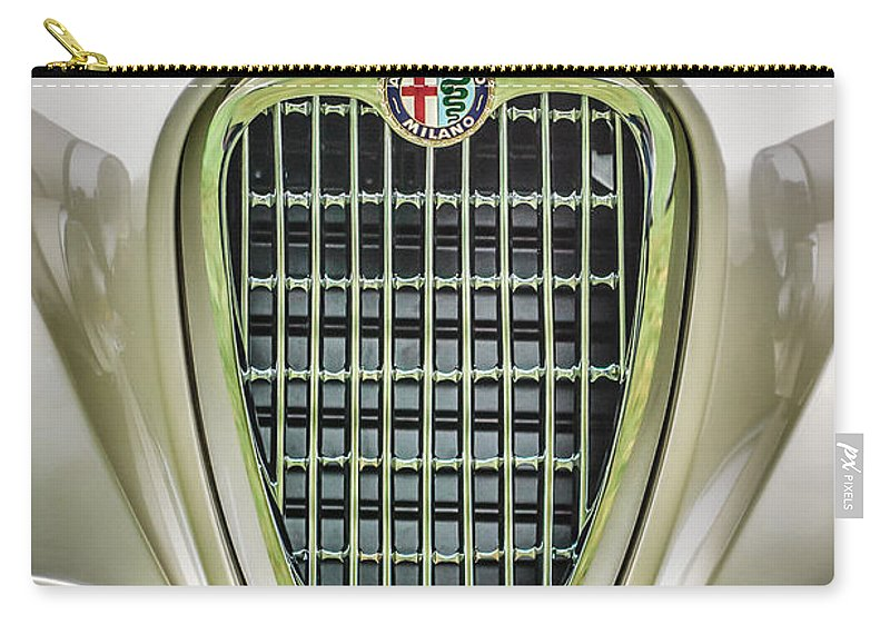 1955 Alfa Romeo 1900 Css Ghia Aigle Cabriolet Grille Emblem Carry-all Pouch featuring the photograph 1955 Alfa Romeo 1900 Css Ghia Aigle Cabriolet Grille Emblem -0564c by Jill Reger