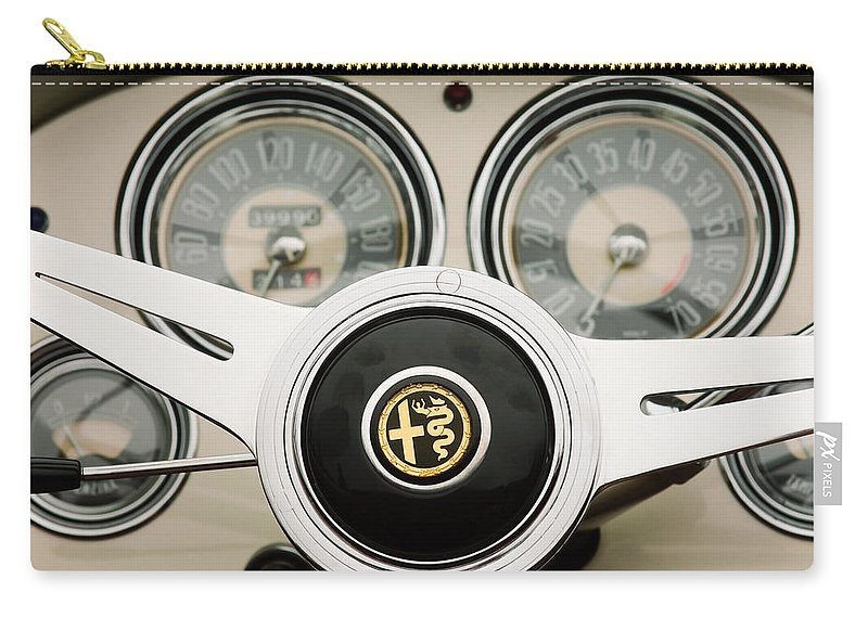 1955 Alfa-romeo 1900 Css Ghia Aigle Cabriolet Steering Wheel Carry-all Pouch featuring the photograph 1955 Alfa-romeo 1900 Css Ghia Aigle Cabriolet Steering Wheel -2254 by Jill Reger