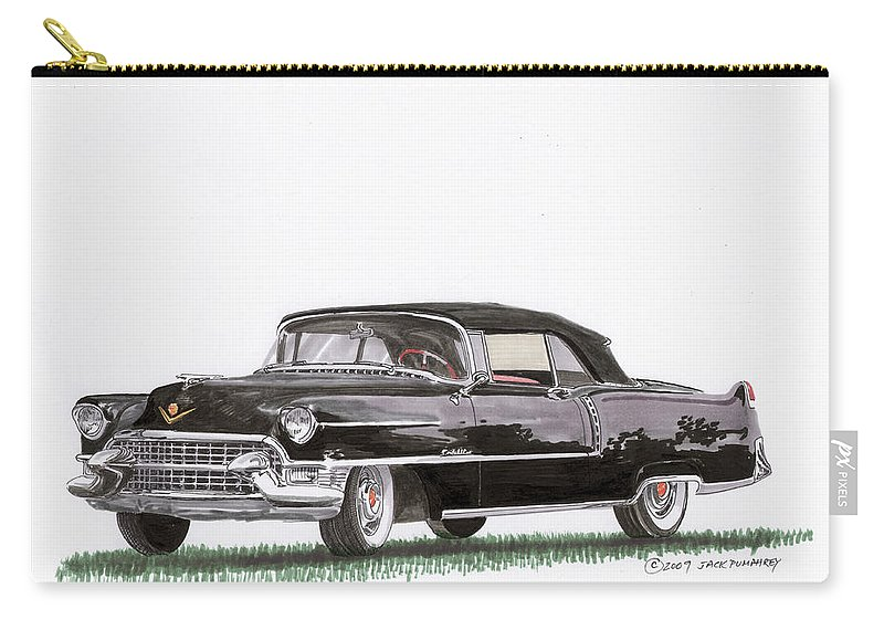 Classic Car Paintings Carry-all Pouch featuring the painting 1955 Cadillac Series 62 Convertible by Jack Pumphrey