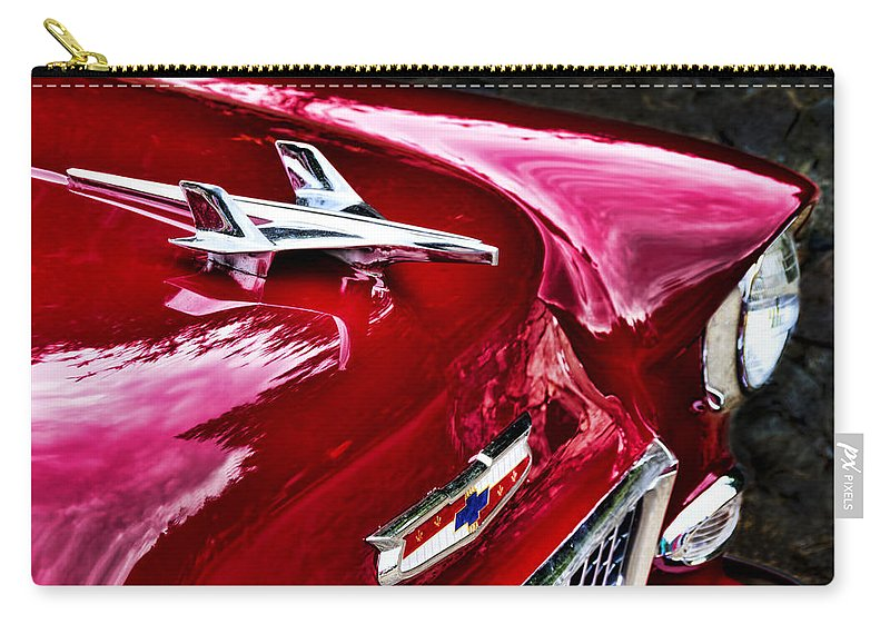 Chevy Carry-all Pouch featuring the photograph 1955 Chevy Bel Air Hood Ornament by Peggy Collins
