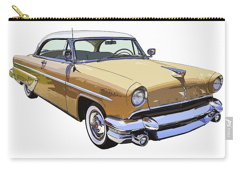 1955 Lincoln Capri Carry-all Pouch featuring the photograph 1955 Lincoln Capri Fine Art Illustration by Keith Webber Jr