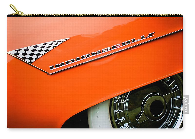 1955 Lincoln Indianapolis Boano Coupe Emblem Carry-all Pouch featuring the photograph 1955 Lincoln Indianapolis Boano Coupe Emblem -0295c by Jill Reger