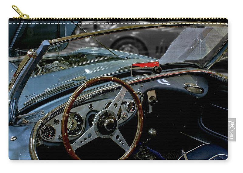 Antique Carry-all Pouch featuring the photograph 1956 Austin Healey Interior by Michael Gordon