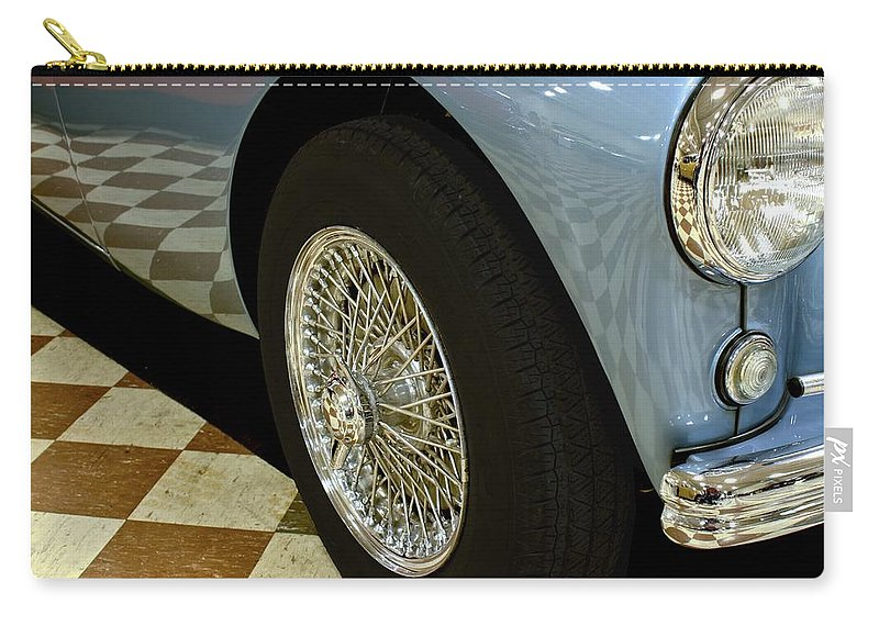 Antique Carry-all Pouch featuring the photograph 1956 Austin Healey Wheel by Michael Gordon