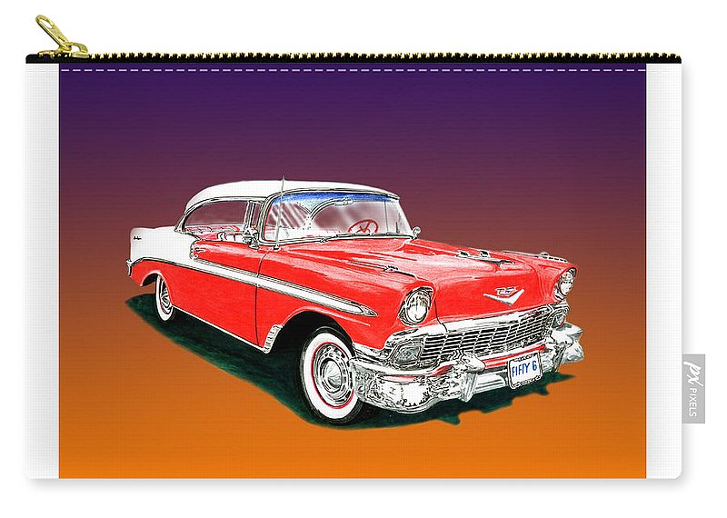 1956 Chevrolet Bel Air Ht. Great American Muscle Cars. Carry-all Pouch featuring the painting 1956 Chevrolet Bel Air Ht by Jack Pumphrey
