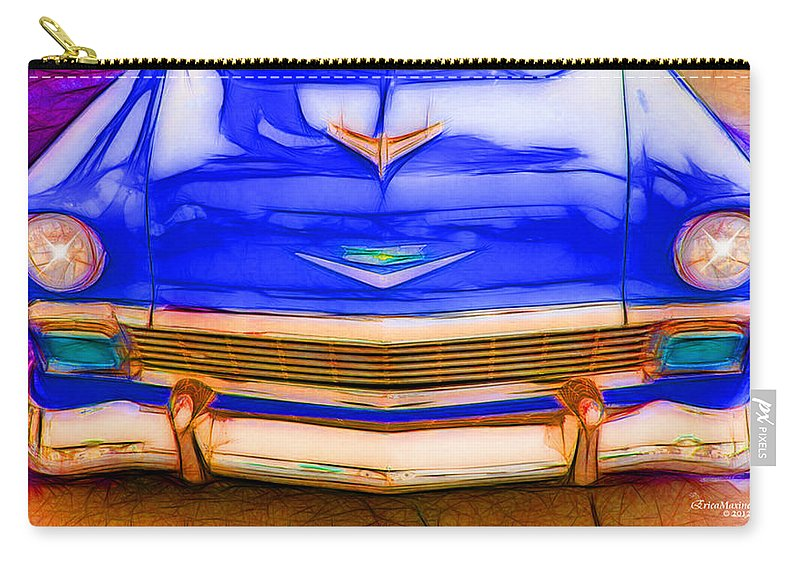 Chevy Carry-all Pouch featuring the photograph 1956 Chevy - Blue by Ericamaxine Price