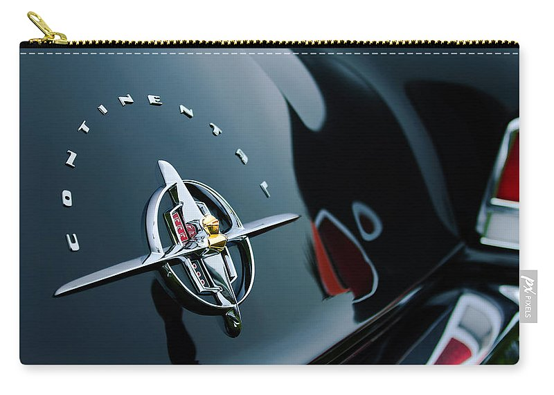 1956 Lincoln Continental Mark Ii Coupe Rear Emblem Carry-all Pouch featuring the photograph 1956 Lincoln Continental Mark II Coupe Rear Emblem by Jill Reger