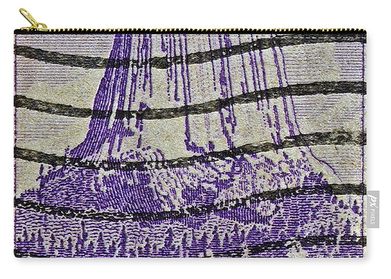 1956 Carry-all Pouch featuring the photograph 1956 Devils Tower National Monument Stamp by Bill Owen