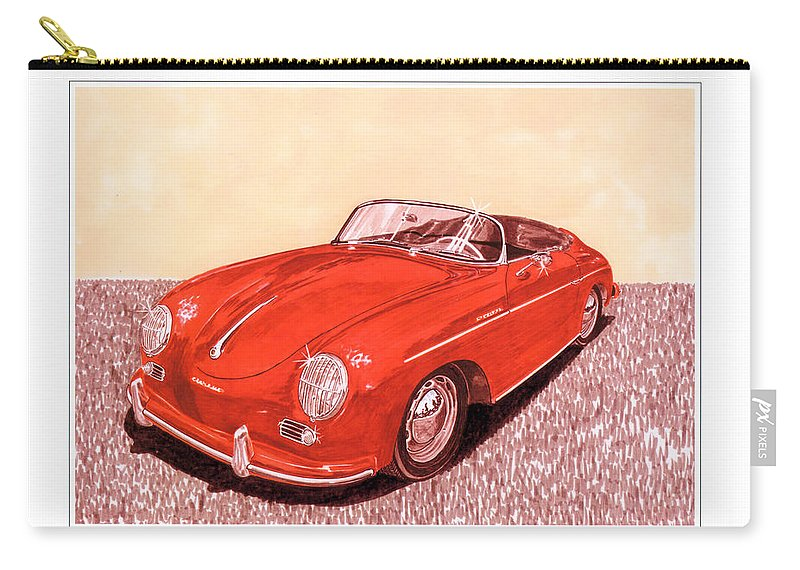 Watercolor Portrait Of The 1956 Porsche 356 Cabriolet By Jack Pumphrey Carry-all Pouch featuring the painting 1956 Porsche 356 Cabriolet by Jack Pumphrey