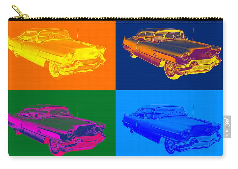 Car Carry-all Pouch featuring the photograph 1956 Sedan Deville Cadillac Luxury Car Pop Art by Keith Webber Jr