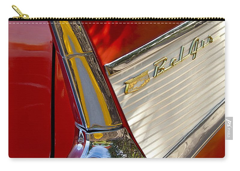1957 Chevrolet Belair Carry-all Pouch featuring the photograph 1957 Chevrolet Belair Taillight by Jill Reger