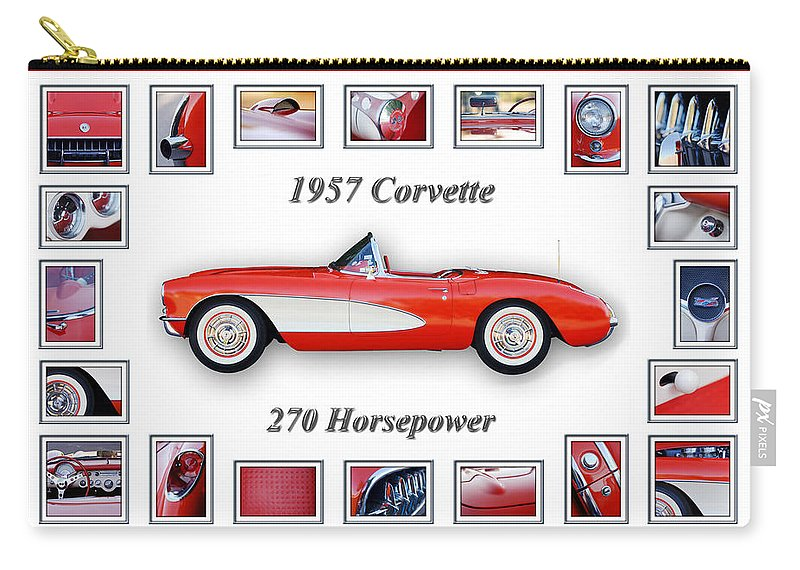 1957 Chevrolet Corvette Grille Carry-all Pouch featuring the photograph 1957 Chevrolet Corvette Art by Jill Reger