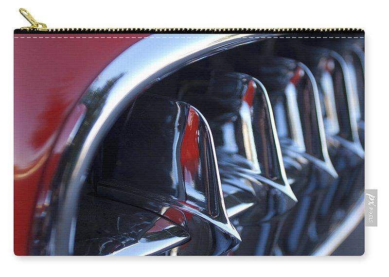 1957 Chevrolet Corvette Grille Carry-all Pouch featuring the photograph 1957 Chevrolet Corvette Grille by Jill Reger