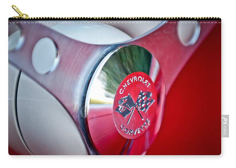 1957 Chevrolet Corvette Steering Wheel Carry-all Pouch featuring the photograph 1957 Chevrolet Corvette Steering Wheel -294c by Jill Reger
