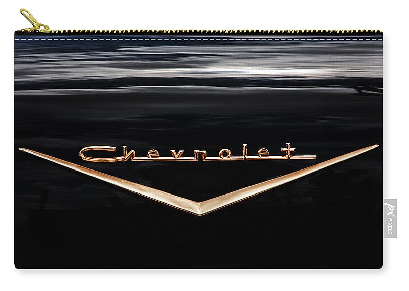 V8 Engine Carry-all Pouch featuring the photograph 1957 Chevrolet Emblem by Rich Franco