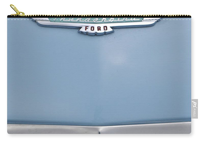 1957 Ford Thunderbird Carry-all Pouch featuring the photograph 1957 Ford Thunderbird Hood Ornament 2 by Jill Reger