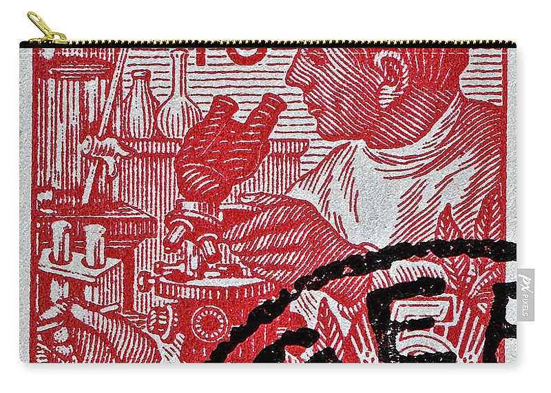 1957 Carry-all Pouch featuring the photograph 1957 German Democratic Republic Chemist Stamp by Bill Owen