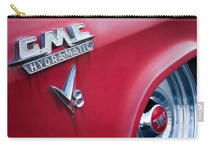 1957 Gmc V8 Pickup Truck Gmc Hydra-matic Emblem Carry-all Pouch featuring the photograph 1957 Gmc V8 Pickup Truck Gmc Hydra-matic Emblem by Jill Reger