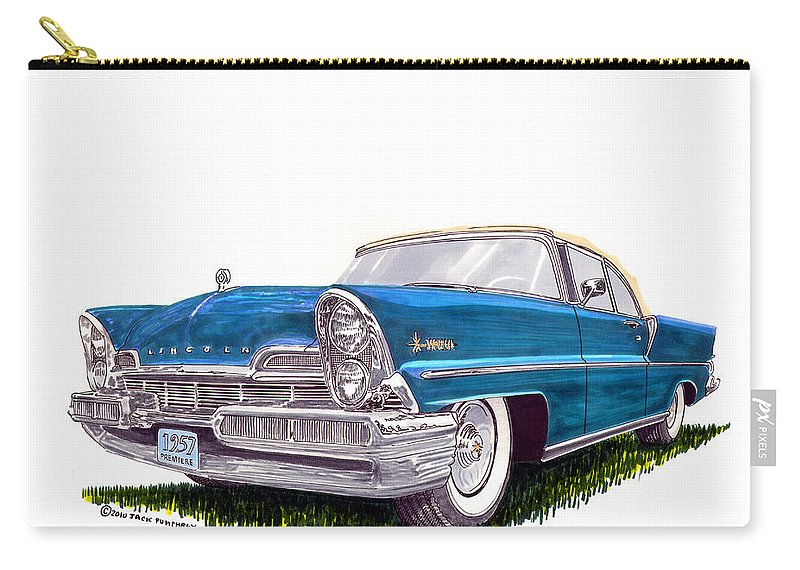 Classic Car Art Carry-all Pouch featuring the painting 1957 Lincoln Premiere Convert by Jack Pumphrey