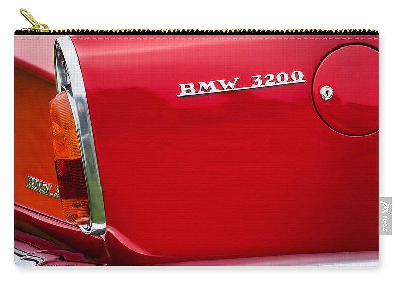 1958 Bmw 3200 Michelotti Vignale Roadster Grille Emblem Carry-all Pouch featuring the photograph 1958 Bmw 3200 Michelotti Vignale Roadster Grille Emblem -2467c by Jill Reger