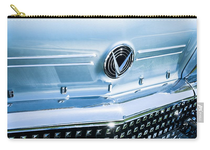 1958 Buick Roadmaster 75 Convertible Grille Emblem Carry-all Pouch featuring the photograph 1958 Buick Roadmaster 75 Convertible Grille Emblem by Jill Reger