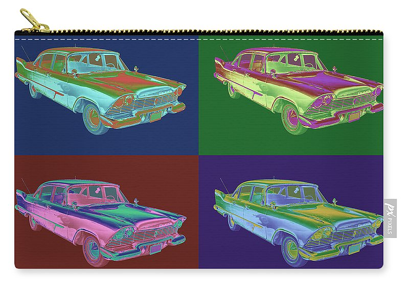 Car Carry-all Pouch featuring the photograph 1958 Plymouth Savoy Classic Car Pop Art by Keith Webber Jr