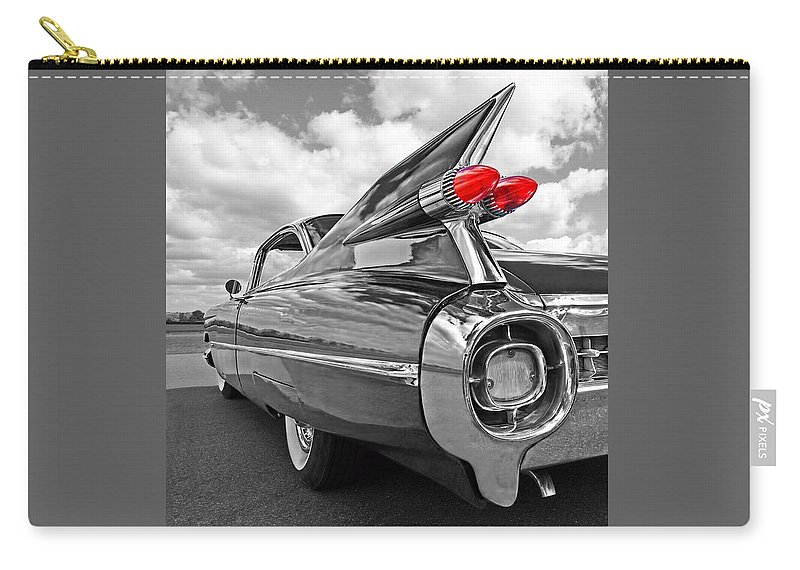Cadillac Carry-all Pouch featuring the photograph 1959 Cadillac Tail Fins by Gill Billington